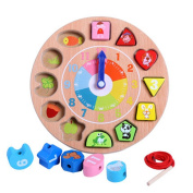 . Wooden Teaching Time Clock, Shapes Sorting Games Learning Number Tools Lacing Beads Educational Toys 100% Solid Wood