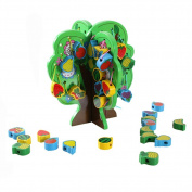 Kids Wooden Lacing Toy Tree Set Preschool Educational Toy Stringing Fruits and Animals Blocks