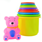Bantoye The First Years Stacking Up Cups with Numbers Animals Plastic Stacking Cups for Kids Toddlers Early Educational Stacker Toys 11 Packs