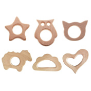 Baosity 6pcs Safety Natural Wooden Teething Ring Organic Wood Bay Teether Toy Gifts