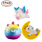 WATINC 3 Pcs Unicorn squishy Sweet Scented Vent Charms Slow Rising squishies Kawaii Kid Toy , Lovely Stress Relief Toy, Animals Gift Fun Large
