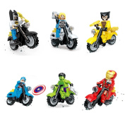 6 Superheroes Minifigures Set with Motorcycle Marvel & Dc Super Heroes Action Figures Batman, Thor, Hulk, Captain America and more, .