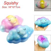 Stress Reliever Toys, TUDUZ Newest Funny Creative Kawaii 16cm Rainbow Cloud Cream Scented Squishy Slow Rising Squeeze Toys Phone Charm Toys
