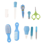 Homyl 10Pieces Toddler Toe Nail Scissor Hair Kit Grooming Kids Manicure Nail Suit - Blue, as described