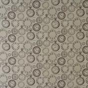 Laminated Cotton - Vintage Clocks - Charcoal - per metre