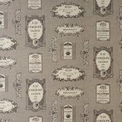 Laminated Cotton - Vintage Labels - Charcoal - per metre