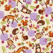 Fat Quarter Enchanted Forest Animals Fox Owl Cream 100% Cotton Quilting Fabric