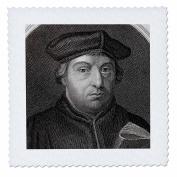 3dRose qs_83117_3 Martin Luther, German Reformer, Engraving-Hi13 Pri0280-Prisma-Quilt Square, 20cm by 20cm