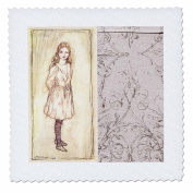 3dRose qs_110232_3 Alice from Alice in Wonderland Vintage Art-Quilt Square, 20cm by 20cm