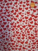 Red Hearts on White Polycotton Print Fabric Material Craft Sewing Valentines