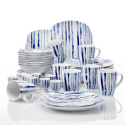 VEWEET 'JOYCE' 40-Piece Ivory White Porcelain Blue Stripes Dinner Set of Egg Cups, Mugs, Bowls and Plates Sets Service for 8
