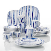 VEWEET 'JOYCE' 20-Piece Ivory White Porcelain Blue Stripes Dinner Set of Egg Cups, Mugs, Bowls and Plates Sets Service for 4
