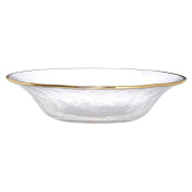 Clear Glass Bowl Golden Sliver Rim Made From Thick Glass Flourishing Finish