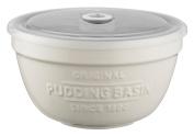 Mason Cash Innovative Kitchen Stoneware Pudding Basin with Airtight Sealing Lid, 0.9 Litre, White / Grey