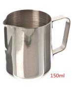 Joyfeel buy Stainless Steel Milk Pitcher,150ml Milk Coffe Frothing Jug,Stainless Steel Flower Cup for Milk latte Cappuccino Mocha