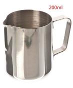 Joyfeel buy Stainless Steel Milk Pitcher,200ml Milk Coffe Frothing Jug,Stainless Steel Flower Cup for Milk latte Cappuccino Mocha
