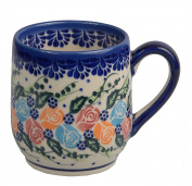 Traditional Polish Pottery, Handcrafted Ceramic Tulip-shaped Mug (300ml / 10.5 fl oz), Boleslawiec Style Pattern, Q.901.ROSY