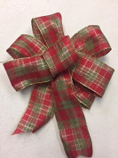 Wired Sparkling Red & Green Plaid Ribbon Handmade Christmas Bow 8-23cm in Diameter - Red and Green Hand Made Bow By Wreaths For Door