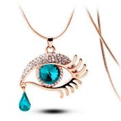 Fashion Magic Eye Crystal Tear Drop Eyelashes Necklace Long Sweater Chain Rhinestone Charm Big Eyes Necklace
