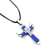 Cross Angel Wing Pendant Black Chain Fashion Rhinestone Necklace For Man and Women