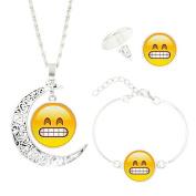 Joopee Cute Emoji Crescent Moon Necklace Stud Earrings Bracelet Bangle Set Art Picture Pendant Statement Chain Jewellery Set