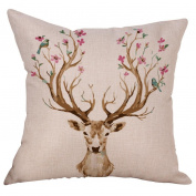 Inverlee Deer Printed Throw Pillowcase Pillow Covers for Home Sofa and Bedroom Cushion Cover Car Decoration