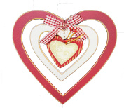 Valentine's Day Red and White Rustic Hanging Heart Door Decoration