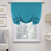H.Versailtex Solid Blackout Energy Efficient Tie Up Shades Blackout Curtain -Rod Pocket Panel for Bedroom, Turquoise Blue, 42W x 63L