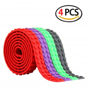 Block Tape for Lego Bricks, Self Adhesive Backing Strips for Kids, Non-toxic Cutable Reusable, Silicone Building Blocks Tape for Lego Lover, 4 Colours 1m of Each roll -by Huaing
