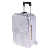 Baoblaze 1:6 Silver Suitcase Dolls Travel Luggage 6th Dollhouse Miniature Accessories