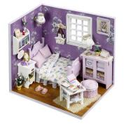 Dollhouse, Sacow 3D Handmade Miniature Dollhouse DIY Wooden Mini House with Furniture Kit Light Kids Girls Gift