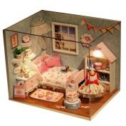 Dollhouse, Sacow DIY Wooden House 3D Handmade Miniature Dollhouse with Furniture Kit Light Festive Gift