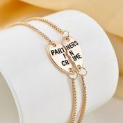 2X Best Friends Forever Split Heart Pendant Bracelet Set for Friendship Gift ESC