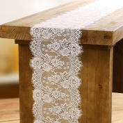 OurWarm 36cm x 300cm White Lace Table Runners Floral Pattern Table Runner for Rustic Chic Wedding Decorations Bridal Shower Décor
