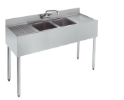 Stainless Steel Two Compartment Under Bar Sink Left and Right Drainboard 48 x 18.5