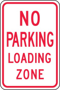 "Accuform Signs FRP104RA Engineer-Grade Reflective Aluminium Parking Sign, Legend ""NO PARKING LOADING ZONE"", 46cm Length x 30cm Width x 0.2cm Thickness, Red on White"
