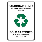 Weatherproof Plastic Vertical Cardboard Only Please Breakdown Boxes Bilingual Sign with English & Spanish Text and Symbol