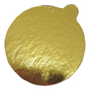 Enjay 7.6cm - 0.6cm Round Gold Mono-Portion Pastry Board with Tab