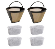 Podoy Gold Coffee Filter with Charcoal Water Filters Cone Style #4 Tone Permanent 6-12 Cup Washable Reusable for Cuisinart Machines and Brewers