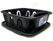 Two Piece Small Sink Set Dish Rack Drainer Kitchen Perimeter Cup Holder Flatware Black Colour