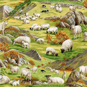 Fat Quarter In The Country Hillside Sheep Cotton Quilting Fabric Nutex