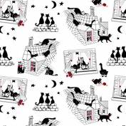 Fat Quarter Cats Night Out Whimsical Black Cats Cotton Quilting Fabric 55x50cm