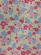 "Dress Fabric – 100% Cotton – 44 "" (110 cm) Wide - Pink & Blue Flowers"