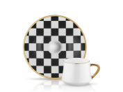 Sufi Coffee Cup and Saucer - Checkerboard - 90 cc