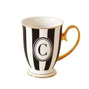 "Bombay Duck Alphabet Stripy Mug Letter ""C"" Black/White with Gold handle"