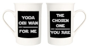 Quirky Star Wars Themed Mug Set - Yoda Obi Wan For Me and The Chosen One You Are by Haysoms