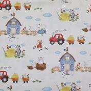 Curtain Fabric Fabric Decorative Yard Farm Animals Gaudi Tractor Creme bunt