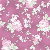 Cotton Fabric - Fat Quarter - Clothworks - Madeline - Medium Floral Light Wine