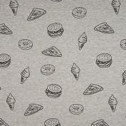 Sweat Fabric Cotton Sweat Burger Pizza Ice Donut Heather Grey Black