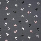 Jersey Fabric Cat White Black Pink Grey